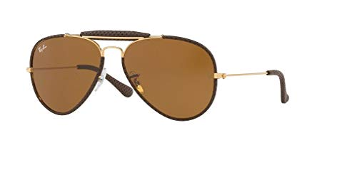 Ray-Ban RB3422Q AVIATOR CRAFT 9041 58M Leather Brown/Brown Sunglasses For Men For Women