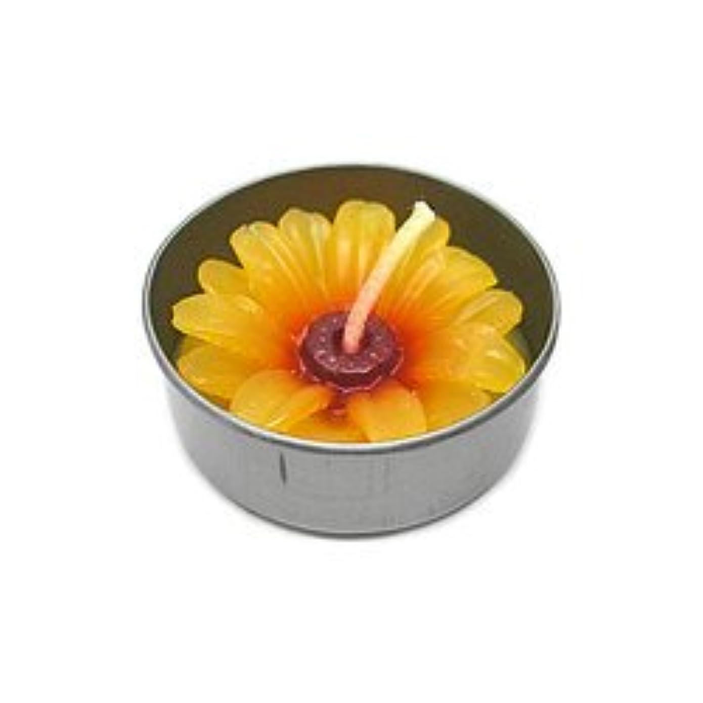 コミュニケーション女性過ちアロマキャンドル  ミニ お花 薄オレンジ 鉄の器入り 器直径4cm アジアン雑貨