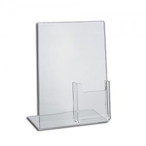 Source One LLC Slant Back Sign Holder PREMIUM 8.5 x 11 Inches with TriFold Brochure Pocket (1 Pack) ()