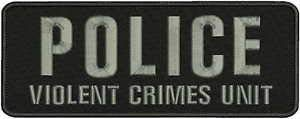 (Police Violent Crimes Unit Embroidery Patch 4X11 Hook Hook ON Back by HighQ Store)