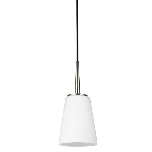 Sea Gull Lighting 6140401-962 Driscoll One-Light Mini-Pendant with Cased Opal Etched Glass, Brushed Nickel Finish