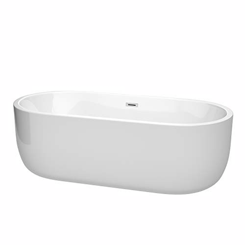 Wyndham Collection WCOBT101371 Juliette Freestanding Bathtub with Drain and Overflow Trim, 71