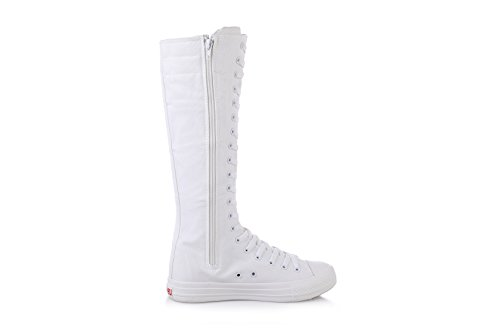 NEWCOSPLAY Womens Knee High Lace-Up Canvas Zip Dance Cheerleading Shoes Boots Rivets-white-black DC02prteLr