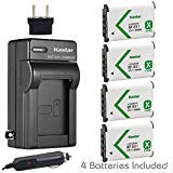 Kastar Battery (4-Pack) and Charger for Sony NP-BX1, M8 and Cyber-shot DSC-HX50V, HX300, RX1, RX1R, RX100, RX100M, RX100M3,...