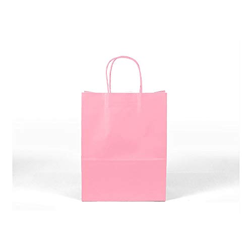 12CT Large Light Pink Biodegradable Paper, Premium Quality Paper (Sturdy & Thicker), Kraft Bag with Colored Sturdy Handle (Large, Light Pink) -