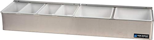 San Jamar B4246L Stainless Steel Non-Chilled Garnish Tray with Split Lid, 24'' Width x 3-1/2'' Height x 5-3/4'' Depth by San Jamar (Image #4)