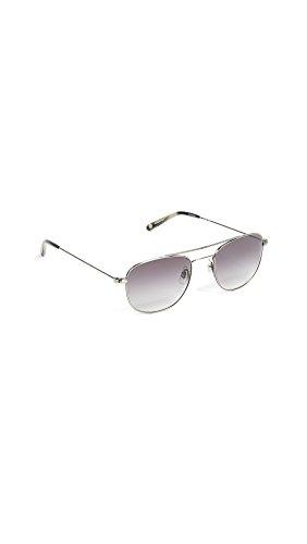 GARRETT LEIGHT Women's Club House Aviator Sunglasses, Pewter/Black, One - Sunglasses Garrett