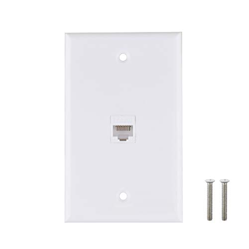 (Ethernet Wall Plate, 1 Port Cat6 Keystone Female to Female Wall Plate - White)