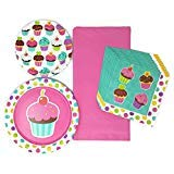 Creative Converting Kids Party Plates Napkins and Tablecloth Cupcake Theme Bundle of 4, Service for 10 ()