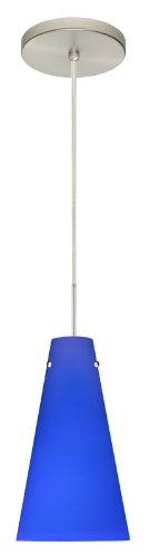- Besa Lighting 1JT-4124CM-SN 1X100W A19 Cierro Pendant with Cobalt Blue Matte Glass, Satin Nickel Finish
