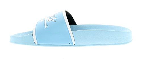 NUOVO donna / blu da donna Henleys FERMACAPELLI SLIP ON punta aperta sabot - Azzurro - NUMERI UK 3-8