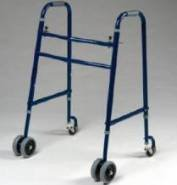 Rolling Walker - Extra Wide, Heavy Duty 650 lb. Weight Capacity Double Button Folding Walker has dual 5'' front wheels and swivel caster back wheels for added stability and safety and only weights 14 lbs. This is a medical walker that fits over the toilet