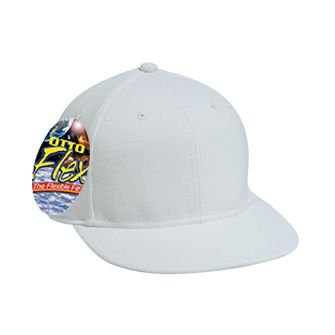 OTTO Flex Wool Blend Twill Round Flat Visor 6 Panel Pro Style Baseball Cap - White
