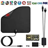 YJan TV Antenna Digital Amplified HDTV Antenna Support 4K Free View 1080P HD TV Antenna Maximum Long Range of 80 Miles with Detachable Amplifier Signal Booster 13.1 Feet Coax Cable Black (Hdtv Antenna Receiver)