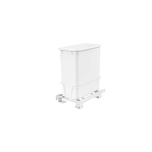 Rev-A-Shelf RV-814PB 20 Quart Undermount Vanity Pullout Waste Container, White (Kitchen Garbage Can Under Sink)