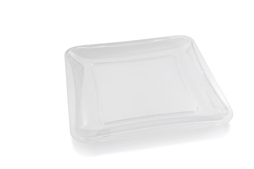 Posh Setting Crystal Clear, Disposable Premium Hard Plastic, 10'' x 10'' Square Serving Tray, 5 Pack