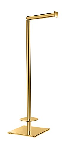 Standing Brass Toilet Paper Holder Bathroom Storage Spare Tissue Roll Dispenser (Polished Gold) by W-Luxury (Image #1)