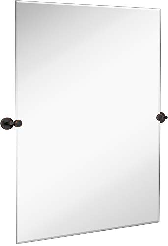 Hamilton Hills Large Pivot Rectangle Mirror with Oil Rubbed Bronze Wall Anchors - Mirrors To Large Bathroom Frame Products