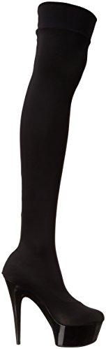 Scarpe Ellie Donna 609-ski Stiletto Elasticizzato In Lycra Con Coscia Alta Nera