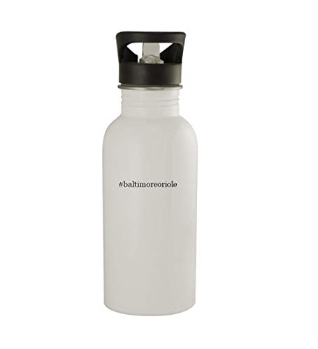 (Knick Knack Gifts #Baltimoreoriole - 20oz Sturdy Hashtag Stainless Steel Water Bottle, White)