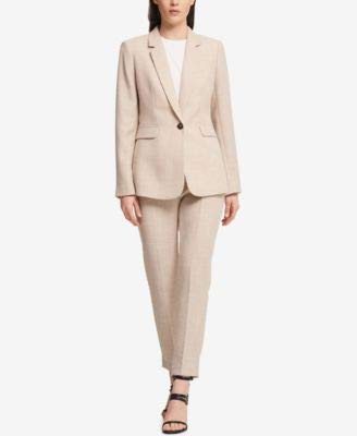 DKNY Womens Suit Separate Business One-Button Blazer Tan 8 (Dkny Cotton Coat)
