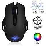 Rechargeable Gaming Mouse with Dual Mode, Wired Wireless Ergonomic Optical Mice with USB, 6Breathing Backlit,MouseEsports with6AdjustableDPILevels forPC,Mac,Laptop,Desktop - Black