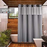Lagute SnapHook TrueColor Hookless Shower Curtain | Removable Liner | See Through Top | Machine Washable | Gray