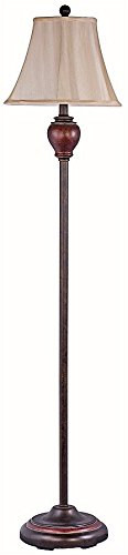 Park Madison Lighting PMF-2105-20 Incandescent Traditional Floor Lamp in Bronze Finish with Hand Crafted Beige Shade and Round Base, 60-Inch Tall