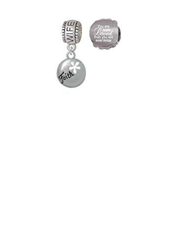 Cut Out Faith Charm (Faith Disc with Cutout Flower Wife Charm Bead with You Are More Loved Bead (Set of 2))