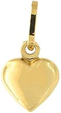 14k Yellow or White Gold Puffed Heart Charm