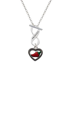 Delight Jewelry Silvertone Jalapeno in Rope Heart Friends Infinity Toggle Chain Necklace