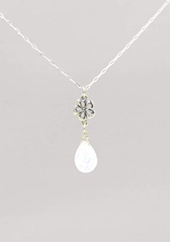Tiny Moonstone Gemstone Necklace June Birthstone 18 Inches