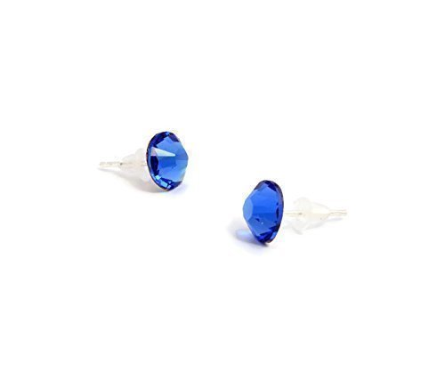 Sapphire Blue Swarovski stud earrings silver plated 7mm handmade with rubber ends - one pair (Daily Costume)