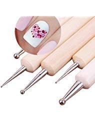 Nail Dotting Tool - Nail Dotting Tools - 5Pcs 2 Way Wooden Dotting Pen Marbleizing Tool Nail Art Dot Dotting Tools #14198 - Nail Glue Dots - Nail Dotting Pen -