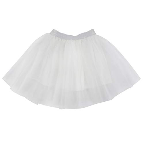 HCABL Girls Tutu Skirt, Summer Tulle Skirt Pure Color Layered Dress up Soft Lining 100% Cotton, Ivory, ()