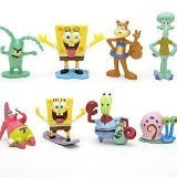 SpongeBob SquarePants 8 Piece Play Set with 8 Spongebob Figures Featuring Squidward, Sandy Cheeks, Patrick Star, Mr. Krabs, Plan Multicoloured, 1pac ()