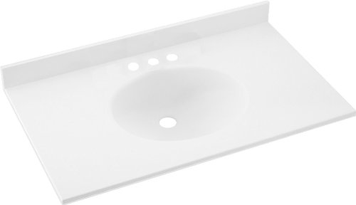 Swanstone VT1B1925-010 Ellipse Solid Surface Single-Bowl Vanity Top, 25-Inch by 19-Inch, ()