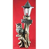 Bouncer Perching Night Owl Welcome Sign Statue With Solar Powered Lantern LED Light Patio Decor Indoor Outdoor