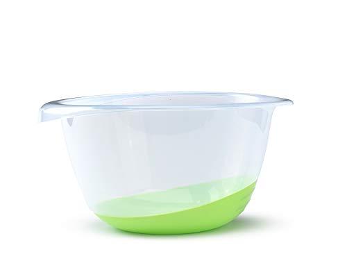 (Whitefurze Premium Mixing Bowl, Non-Slip Base and Pouring Lip, 6 Liter (6.3 Quart), Clear/Green)