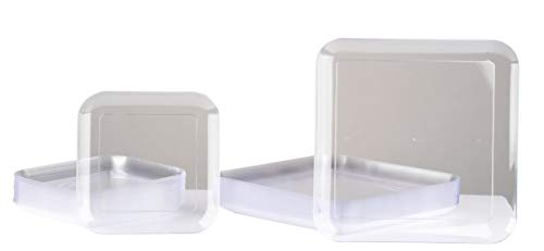 Square Plastic Plates - 40-Pack White Disposable Serveware Includes 20 8-Inch Dining Plates and 20 6-Inch Salad Dessert Plates, Round Edges, Perfect for Wedding, Birthday, Holiday, Office Parties]()