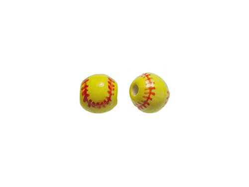20pcs 11mm Softball Ceramic Sports Beads-Hand Painted