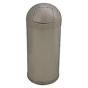 15 Gallon Aluminum Open Top (Trash Can,Round,15 gal.,Silver, 4PGG5)