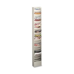 Sandusky Buddy Products Wall Rack or Convert to Free Standing with Base Literature Display Wall Rack (0863-32) ()
