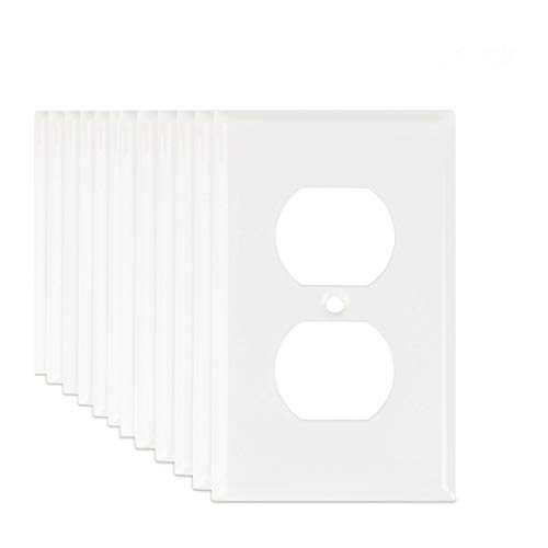 12-Pack LoGest Duplex 1-Gang White Wall Plates - Metal Steel - Home Electrical Outlet Cover - Port Replacement Receptacle - Faceplates Covers - Matching -