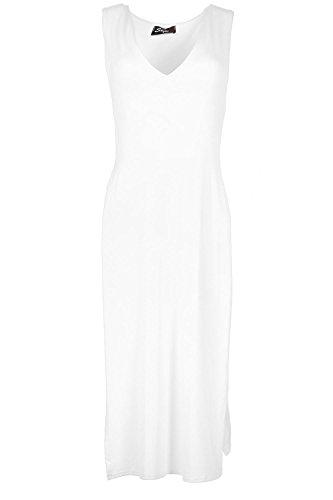 Oops Outlet Womens Col De Dames V Double-face Ouverture Découpe Tunique Taille Haute Split Robe Midi Haut Grande Taille UK 8-22 - Blanc, Grande taille (EU 48/50)