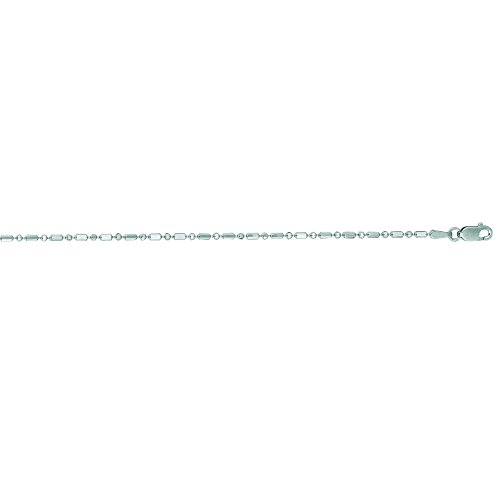 Luxurman 14K White Solid Gold 1.5mm wide Diamond Cut Round Shaped Bead Chain 20