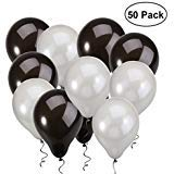 NUOLUX Latex Balloons,12 inch Black Silver Balloons for Wedding Birthday -