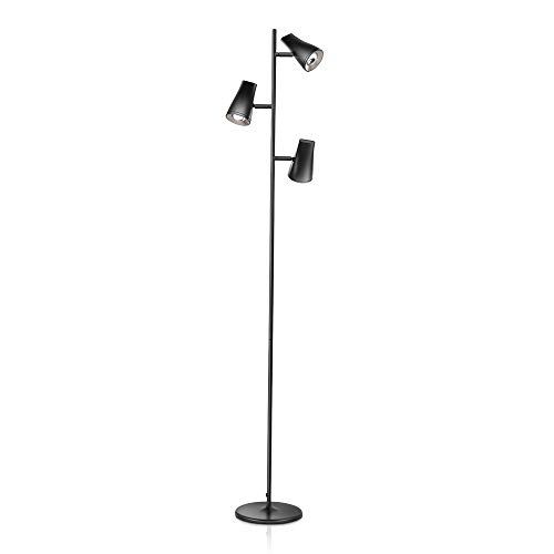 LED Tree Shape Floor Lamp with 3 Lamp Heads, Adjustable Tall Standing Lamp with Ultralthin Metal Base, Multi-Direction Reading Lamp for Living Room/Office/Study Room/Piano Room, Black -