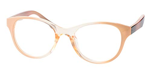 SOOLALA Lovely Hit Color Oversized Clear Lens Eye Glasses Frame Wide Reading Glasses, Tan, - Pink Tone Glass