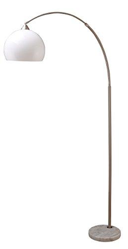 Milton Greens Stars A6937SN Sharon Modern Adjustable Arc Floor Lamp with Marble Base, 75-Inch, Satin Nickel